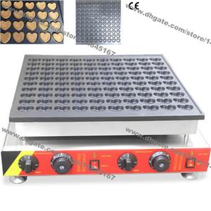Freies Verschiffen Handelsgebrauch Nonstick 110 v 220 v Elektrische 100 stücke Niederländisch Poffertjes Mini Herzen Pfannkuchen Maschine Bäcker Maker Eisen
