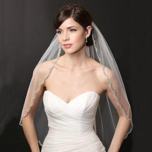 Véu branco Sparkly do véu do casamento dos véus do casamento do marfim com grânulos e véus das lantejoulas Véu nupcial para noivas com pente