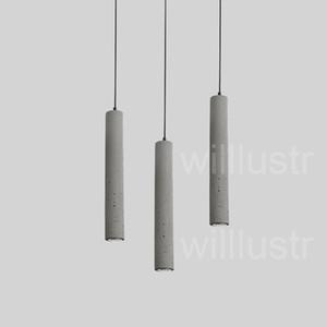 willlustr lámpara colgante de cemento LED lámpara de suspensión de cemento gris lámpara colgante de iluminación de diseño minimalista dinning restaurante sala de cemento puro