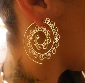 Personalidad de moda Pendiente espiral Vintage Bohemia Ronda Pendiente espiral Círculos Exagerado Whirlpool Gear Pendientes Accesorios de la joyería