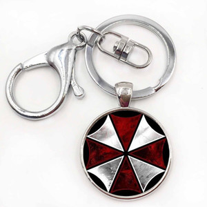 cas pour Resident Evil Umbrella art image verre métal porte-clé mode vintage hommes porte-clés porte-anneau pour voiture