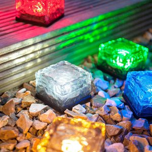 Solar Brick Ice Cube Path Lights Crystal Garden Lamp LED Underground lamp Solar Ground Light Holiday decor Light solar ice block lamp