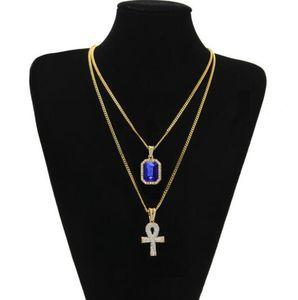 Chiave egiziano di Catene Vita Bling strass oro per gli uomini Dichiarazione Crosses ciondolo con rubino rosso collana di fascino Set Men gioielli Hip Hop