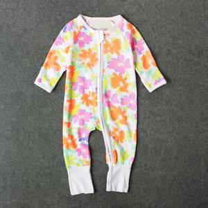 Bebê bonito impressão de manga comprida macacão impressão dos desenhos animados dinossauro flor de banana zipper onesie para crianças meninos meninas 0-3 T ins hot kids pano