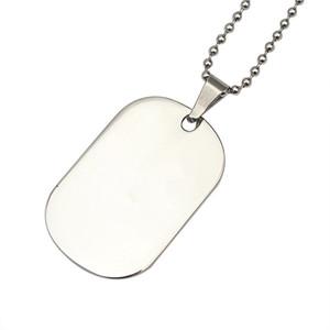 Joyería de moda colgante de placa de collar de acero inoxidable neclace gota Collar de colgantes brillante hombre de cadena larga Ejército estilo militar