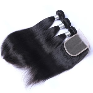 Hot sale 4x4 Lace Closure Straight 3 Pcs Brazilian Human Hair Bundles Peruvian Malaysian Indian Straight Human 130% Density with Baby Hair