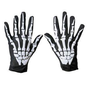 Unisex Women and Men Wrist Length Scary Gloves Halloween Skeleton Bone Print Short Gloves Fancy Dress Black Green Gloves