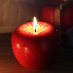شمعة التفاح الأحمر مع حزمة البيع بالتجزئة الديكورات المنزلية شكل الفاكهة المعطرة شمعة مصباح عيد الميلاد هدية الزفاف بالجملة شحن مجاني