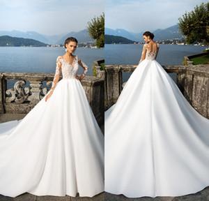 2020 vestidos de boda de Milla Nova Vintage Sheer manga larga de encaje apliques trasera del botón de raso vestidos de boda de las mujeres occidentales del país vestidos de novia