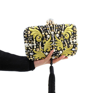 Wholesale-Luxurious Pearl Beads Diamonds Gold Embroidery Clutch Black Tassels Crystal Evening Bag Bridal Wedding Handbag With Chain JXY636