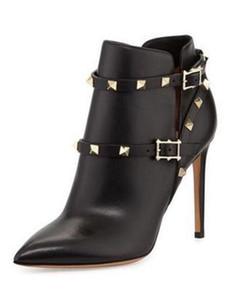 2017 moda ankle boots botas de camurça de couro fino salto ponto dedo do pé ponta do parafuso prisioneiro sapatos de festa mujer botas primavera novas senhoras rebites bota