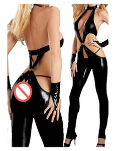 Plus Size 5XL fetiche de cuero de imitación Body Sexy mujeres halter ahueca hacia fuera el mono flaco Wetlook club nocturno Catsuit Clubwear