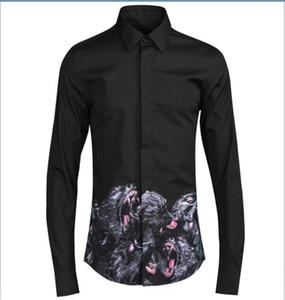 Trasporto libero 2017 nuovo arrivo di modo della scimmia Digital stampato originale europeo Design Mens Slim a maniche lunghe camicia casual vendita calda