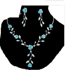 blue*white rose flwoer set wedding bride necklace (40+extra 6cm() earings ((50mm ming)