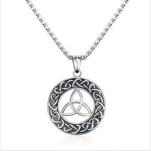 Мужские ожерелья из нержавеющей стали старинные ирландские кельтики Trinity Love Knot круглая трикетерра узел кулон ожерелье ювелирные изделия