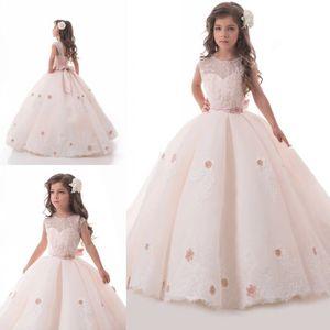 Light Blush Pink Flower Girl Vestidos para bodas Encaje Apliques Niños Vestido de fiesta Flowergirl Sweep Train Vestido de primera comunión