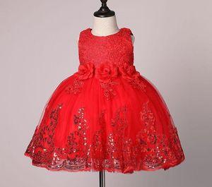 Girls Dress for Kids 2017 Summer 3D Flower Sleeveless Sequins Baby TUTU Dress Fashion Bowknot Kids Princess Party Dress 7-24M