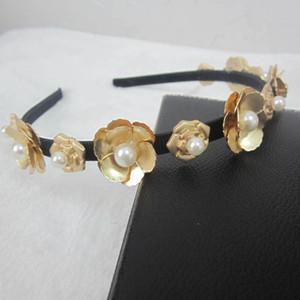 Fashion Brand Metall Blume Haarbänder Haar Schmuck Frauen Perle Stirnbänder Hochzeit Haarschmuck Braut Kopfschmuck Gold Stirnbänder 2017
