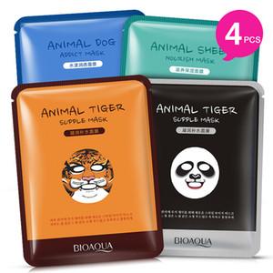 Großhandel-4 Teile / los BIOAQUA 4 Stücke Tiger Panda Schäferhund Form Tier Gesichtsmaske Feuchtigkeitsspendende Ölsteuer Feuchtigkeitsspendende Pflegende Gesichtsmasken