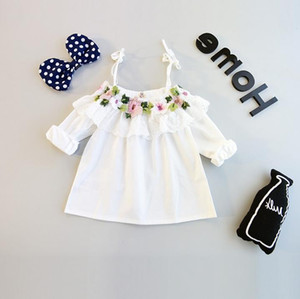 Spring Summer Baby Girls Sun-Top Flowers Embroidery Cotton Tops Blouse Slash Neck Kids Florals White Tshirt Children Blouses Clothing