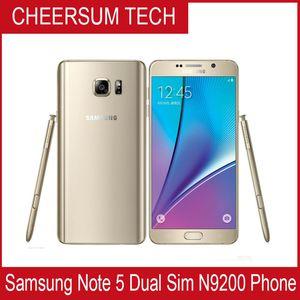 Восстановленный Оригинал Samsung Galaxy Note 5 N920 Dual SIM разблокированного телефон окт сердечник 4GB / 32GB 5,7-дюймовые 2560 х 1440