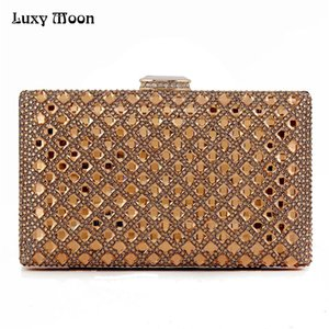 Luxy Moon gold Clutch Femmes Sacs de soirée Sac de soirée en cristal pour femme Jour de cristal Sac de fête Sac de fête banquet Noir / Or / Argent