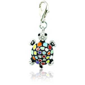 Fashion Bulk Charms 6 Strass colore smalto tartaruga Catenaccio animale fai-da-te pendenti gioielli rendendo accessori