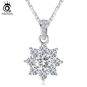 ORSA JEWELS Роскошные Кристалл Снежинка ПодвескиШнурки Подлинная 925 Серебряное Ожерелье Подарок для Женщин SN44