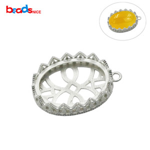 Beadsnice Jewelry Supply 925 Sterling Silver Pendant Trays Bezel Cups Hollow Sterling Pendant Settings Christmas Gift ID32638