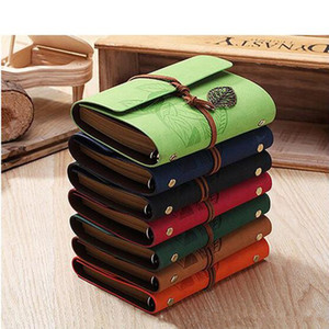 14.5*11.5 cm kraft Leather Journal Notebook Retro Craft Pape Spiral Diary Journals Book Custom logo printing Stationery Fast shipping