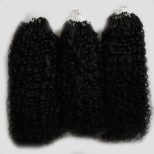Colore naturale afro crespi ricci micro estensioni dei capelli 300g mongolo ricci crespi capelli Micro Link Estensioni dei capelli umani 300s