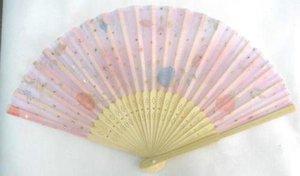 Großhändler Chinesische Seide Falten Bambus Hand Fan Fans Art handgemachte Blume