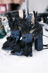 Deep Blue Black Sandals pour femmes talons chunky frange gland vintage style Rome dames gladiateurs bout ouvert chaussures Bandage Feminino