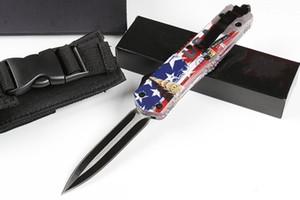 Recommander Hight Blessé dent de dragon A07 (quatre drapeau britannique américain) 4modelal de copies de chasse Couteau de poche pliable de LivraisonGRATUITE
