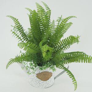 Herbes de fougère artificielles avec pot en plaque galvanisé Pteris Cretica présentoir fleur vert bonsaï en pot lavé blanc pour la maison Deco125-1008