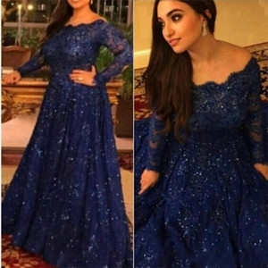 2021 New Arabic Long Sleeve Lace Muslim Evening Dresses Capped Off the Shoulder Prom Dress Royal Blue Custom Formal Evening Gowns Plus Size