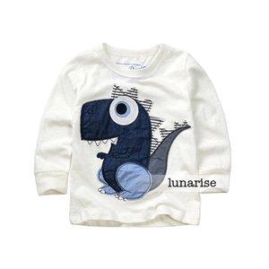 Niños chicos dinosaurio camisa de la cartilla de algodón puro mancha blanca de manga larga de la camiseta al por mayor