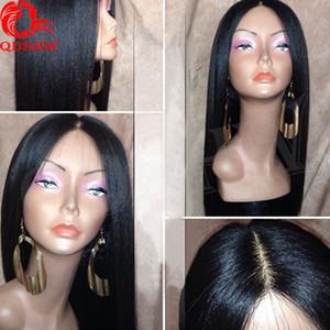 Шелк Базовый полный парик шнурка Yaki прямой бразильский прямой свет волос Yaki Silk Top человеческих волос Парики Glueless для чернокожих женщин