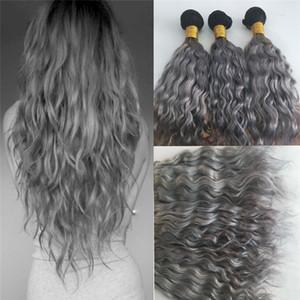 새로운 도착 선염 색상 1B 회색 인간의 머리 번들 두 톤 브라질 처녀 머리 씨실 1B 회색 물 웨이브 머리 확장 3 번들
