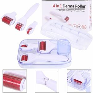 4 en 1 rouleau Derma inoxydable / titane aiguilles alliage rouleau DRS Derma Avec trois tête (1200 + 720 + 300 aiguilles) dermaroller Kit pour l'acné enlèvement