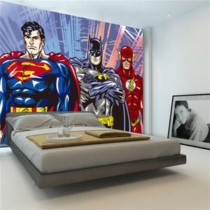 Custom 3D Wall Murals Batman Superman Flash Wallpaper Comics foto wallpaper Boys Kids Bedroom Living room Decoración de la habitación Superhero