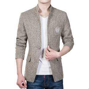 Wholesale- New Arrival Single Button Leisure Blazer Men Male 2017 Korean Fashion Slim Fit Casual Blazer Brand Clothing Plus Size M-5XL
