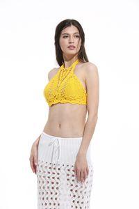 Sexy Women Crop Deep V-Neck Scava fuori Crochet Crop Knitted Bra Boho Beach Bikini Halter Cami Canotte Tees