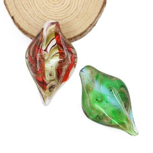 Lampwork Glass Pendant Beads Handmade Leaf Shape Floral Charms For Jewelry Findings DIY 12pcs box, MC0037