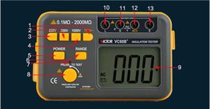 VC60B + الرقمية عزل المقاومة تستر Megger ميغا أوم متر DC / AC 0.1 ~ 2000M أوم بالجملة