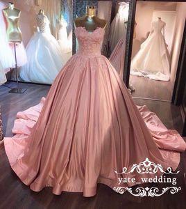 2018 Yumuşak Pembe Balo Gelinlik Sweetheart Dantel Ruffled Saten Korse Tozlu Gül Quinceanera Modelleri Sweet 16 Gowns Abiye