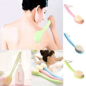 Mais novo Escova de Banho de Alta Qualidade Longo PS Lidar Com Esponja Escova Corpo Massageador Banho de Chuveiro de Volta Spa Scrubber Escovas De Banho Macio WX-T03