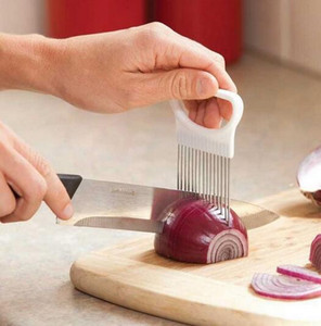 Kullanışlı Mutfak Pişirme Aracı Soğan Domates Sebze Dilimleme Kesme Yardım Kılavuzu Tutucu Meyve Dilimleme Kesici Gadget