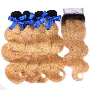 Açık Kahverengi Ombre Brezilyalı Saç Kapatma İki Ton # 1B / 27 Bal Sarışın Ombre İnsan Saç 3Bundles Vücut Dalga 4x4 Dantel Kapatma