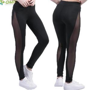 2020 malla de empalme yoga pantalones del bloque del color de las polainas de las mujeres inserto de malla Deportes Correr Medias remiendo Fitness Gym pantalones baratos